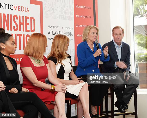 Senator Shelley Moore Capito speaking at the Atlantic Media breakfast on women, fairness and power on April 30, 2016 in Washington, DC while...