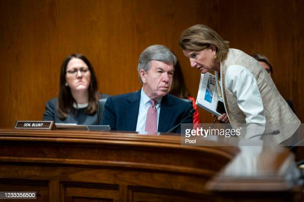 Senator Shelley Moore Capito talks to Senator Roy Blunt during a Senate Appropriations Subcommittee hearing on June 9, 2021 at the U.S. Capitol in...