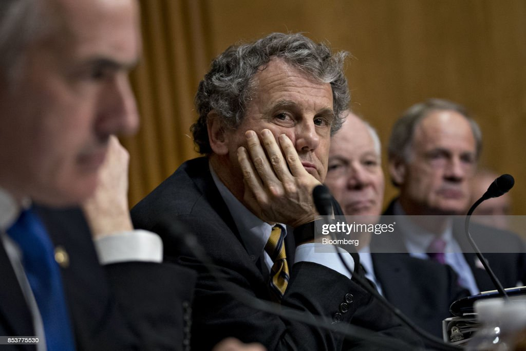 Senator Sherrod Brown, a Democrat from Ohio, center, listens during a Senate Finance Committee hearing to consider the Graham-Cassidy-Heller-Johnson proposal in Washington, D.C., U.S., on Monday, Sept. 25, 2017. Senators sponsoring a last-ditch Obamacare repeal bill raced to save it from near-certain death Sunday, circulating a new version aimed at winning over several GOP holdouts. Photographer: Andrew Harrer/Bloomberg via Getty Images