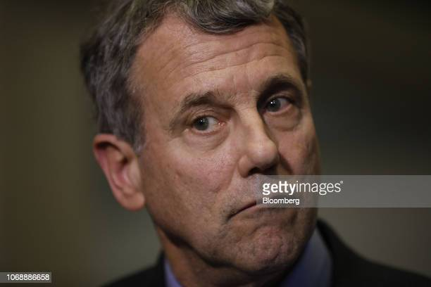 Senator Sherrod Brown a Democrat from Ohio listens to questions from members of the media following a meeting with Mary Barra chief executive officer...