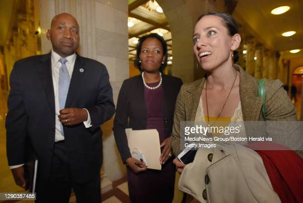 Senator Sonia Chang-Diaz speaks to media after she and members of The Congressional Black and Hispanic Caucus met with Governor Charles Baker on...