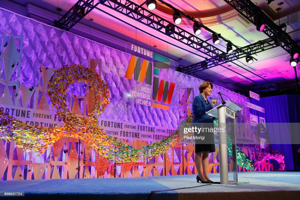 U.S. Senator, State of Minnesota, Amy Klobuchar speaks onstage at the Fortune Most Powerful Women Summit on October 9, 2017 in Washington, DC.
