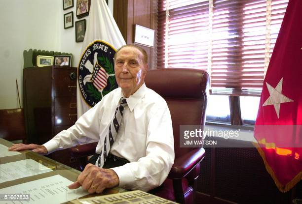Senator Strom Thurmond of South Carolina, the oldest member of the Senate, sits at his desk in his office at the Russell Senate Office Building in...