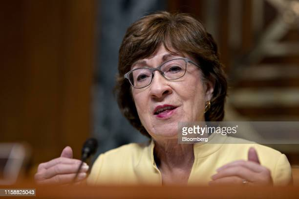 Senator Susan Collins, a Republican from Maine and chairman of the Senate Appropriations Subcommittee on Transportation, questions witnesses during a...