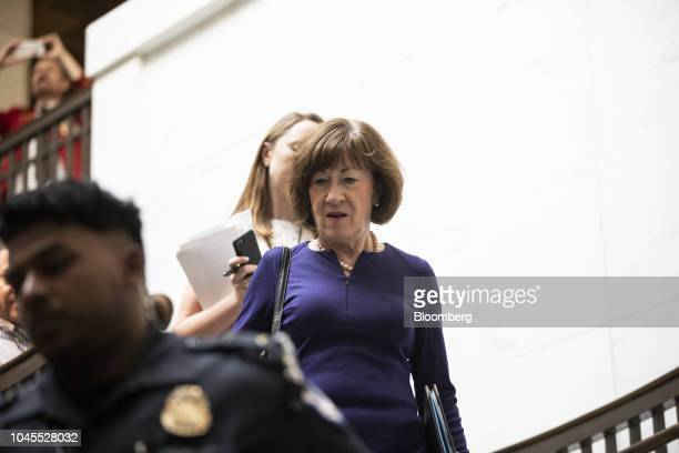 Senator Susan Collins a Republican from Maine arrives at the Office of Senate Security on Capitol Hill in Washington DC US on Thursday Oct 4 2018 The...