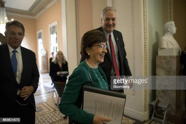 Senator Susan Collins a Republican from Maine center and Senator Luther Strange a Republican from Alabama right walk to the Senate floor at the US...