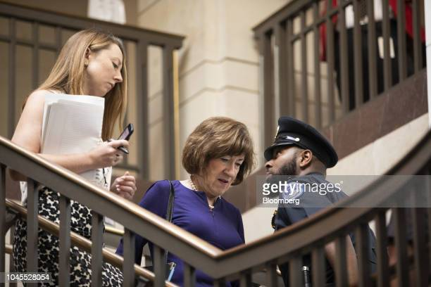 Senator Susan Collins a Republican from Maine center arrives at the Office of Senate Security on Capitol Hill in Washington DC US on Thursday Oct 4...