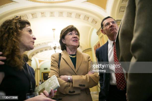 Senator Susan Collins a Republican from Maine center left and Senator John Barrasso a Republican from Wyoming speak to members of the media before a...