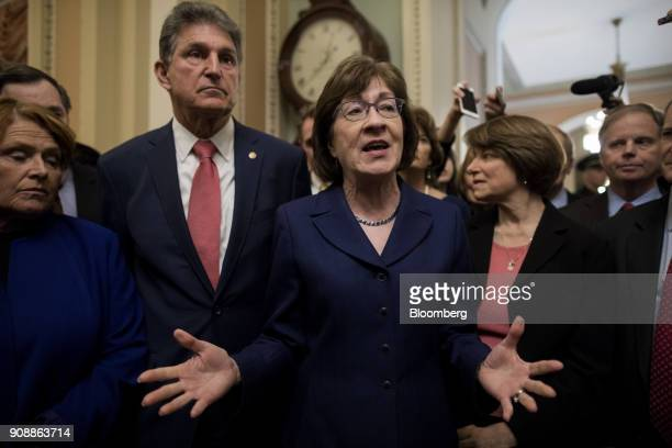 Senator Susan Collins a Republican from Maine center speaks with members of the media at the US Capitol in Washington DC US on Monday Jan 22 2017 The...
