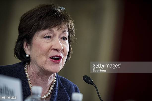 Senator Susan Collins a Republican from Maine introduces Senator Jeff Sessions a Republican from Alabama not pictured at the start of the Senate...
