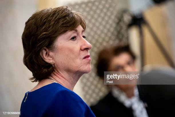 Senator Susan Collins, a Republican from Maine, listens during a Senate Small Business and Entrepreneurship Committee hearing in Washington, D.C.,...