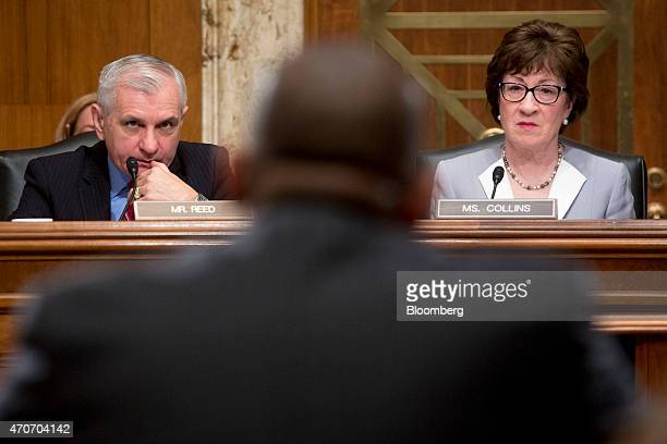 Senator Susan Collins a Republican from Maine right and Senator Jack Reed a Democrat from Rhode Island listen as Anthony Foxx US transportation...