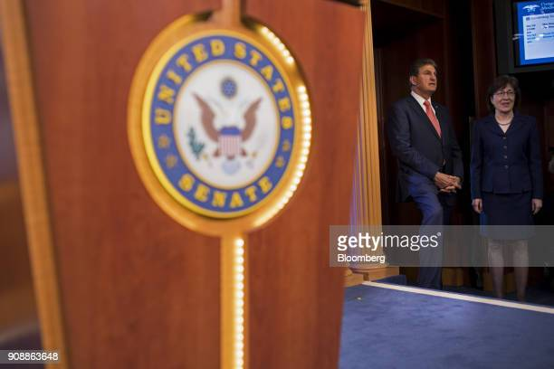 Senator Susan Collins a Republican from Maine right and Senator Joe Manchin a Democrat from West Virginia arrive for a news conference at the US...