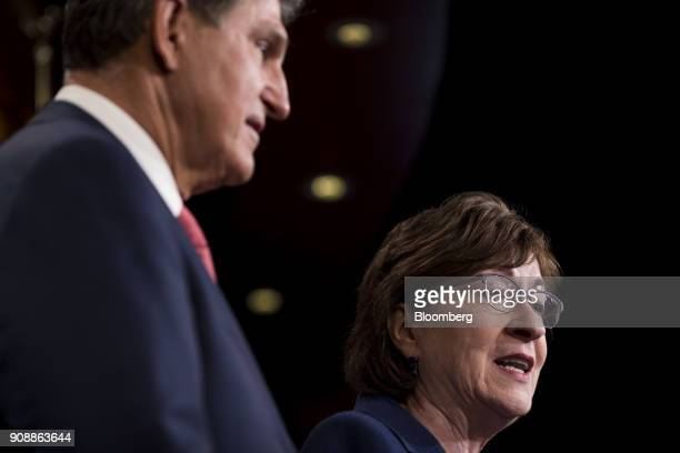 Senator Susan Collins a Republican from Maine right speaks while Senator Joe Manchin a Democrat from West Virginia listens during a news conference...