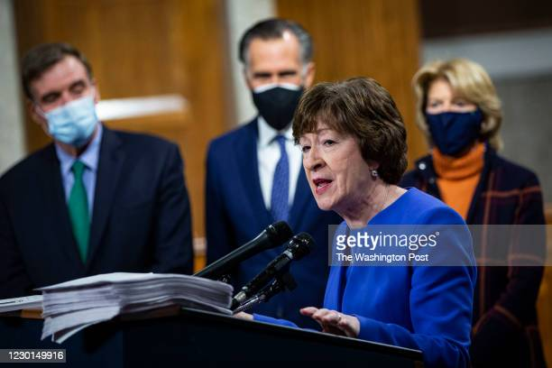 Senator Susan Collins, a Republican from Maine, speaks during a news conference with a bipartisan group of lawmakers as they announce a proposal for...