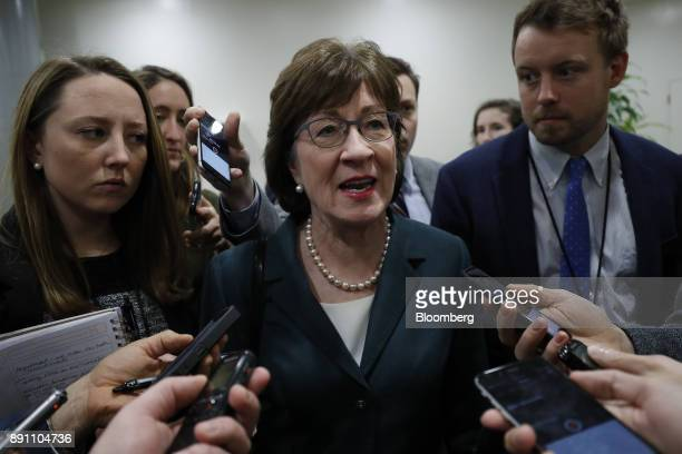 Senator Susan Collins a Republican from Maine speaks to members of the media in the basement of the US Capitol before a weekly GOP luncheon meeting...
