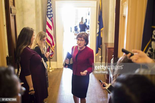 Senator Susan Collins a Republican from Maine speaks to members of the media at the US Capitol in Washington DC US on Wednesday Feb 14 2018 A...