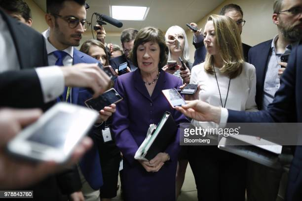 Senator Susan Collins a Republican from Maine speaks to members of the media ahead of a Senate weekly luncheon meeting at the US Capitol in...