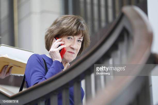 Senator Susan Collins a Republican from Maine takes a phone call on Capitol Hill in Washington DC US on Thursday Oct 4 2018 The White House expressed...