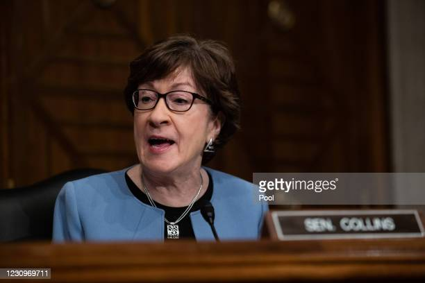 Senator Susan Collins, R-ME, speaks during the confirmation hearing for Labor secretary nominee Marty Walsh testifies before the Senate Health,...