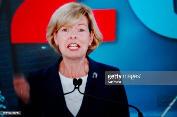 Senator Tammy Baldwin addresses the virtual 2020 Democratic National Convention, livestreamed online and viewed by laptop from the United Kingdom in...