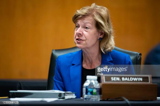 Senator Tammy Baldwin speaks during a Senate Appropriations Subcommittee hearing on June 9, 2021 at the U.S. Capitol in Washington, D.C. The...