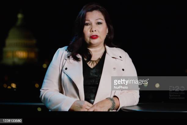 Senator Tammy Duckworth addresses the virtual 2020 Democratic National Convention, livestreamed online and viewed by laptop from the United Kingdom...