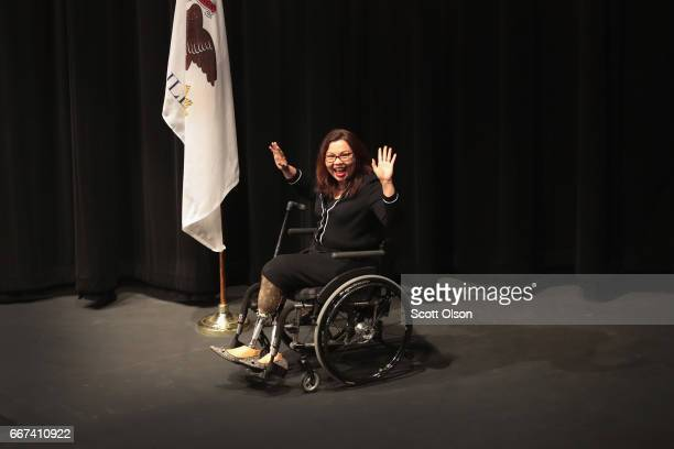 S Senator Tammy Duckworth arrives for a town hall meeting on April 11 2017 in Palatine Illinois Duckworth who defeated Senator Mark Kirk in 2016 is...