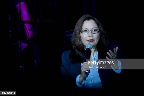 S Senator Tammy Duckworth introduces Joe Walsh ay the VetsAid Charity Benefit Concert at Eagle Bank Arena on September 20 2017 in Fairfax Virginia