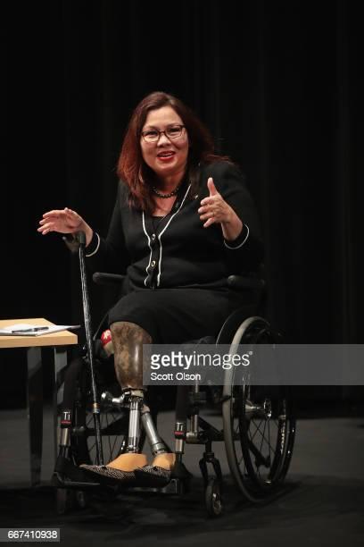 S Senator Tammy Duckworth speaks during a town hall meeting on April 11 2017 in Palatine Illinois Duckworth who defeated Senator Mark Kirk in 2016 is...