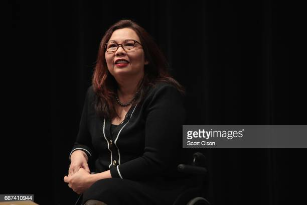 S Senator Tammy Duckworth speaks during a town hall meeting on April 11 2017 in Palatine Illinois Duckworth who defeated Senator Mark Kirk in 2016 is...