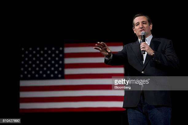 Senator Ted Cruz a Republican from Texas and 2016 presidential candidate speaks during a campaign event in Aiken South Carolina US on Monday Feb 15...