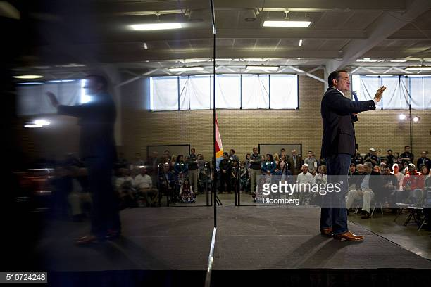 Senator Ted Cruz a Republican from Texas and 2016 presidential candidate speaks during a campaign rally in Columbia South Carolina US on Tuesday Feb...