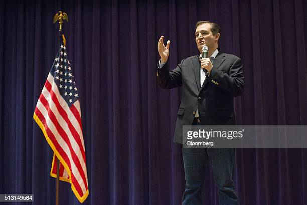 Senator Ted Cruz a Republican from Texas and 2016 presidential candidate speaks during a campaign event in San Antonio Texas US on Monday Feb 29 2016...
