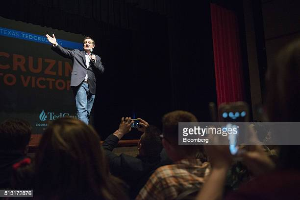 Senator Ted Cruz a Republican from Texas and 2016 presidential candidate speaks during a campaign event in Houston Texas US on Monday Feb 29 2016...