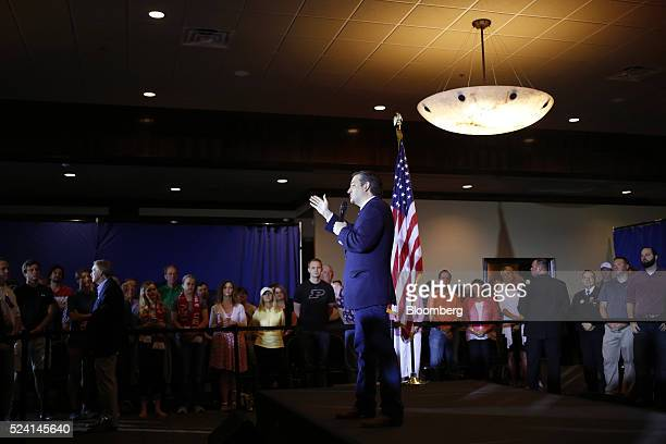 Senator Ted Cruz a Republican from Texas and 2016 presidential candidate speaks during a campaign event in Borden Indiana US on Monday April 25 2016...