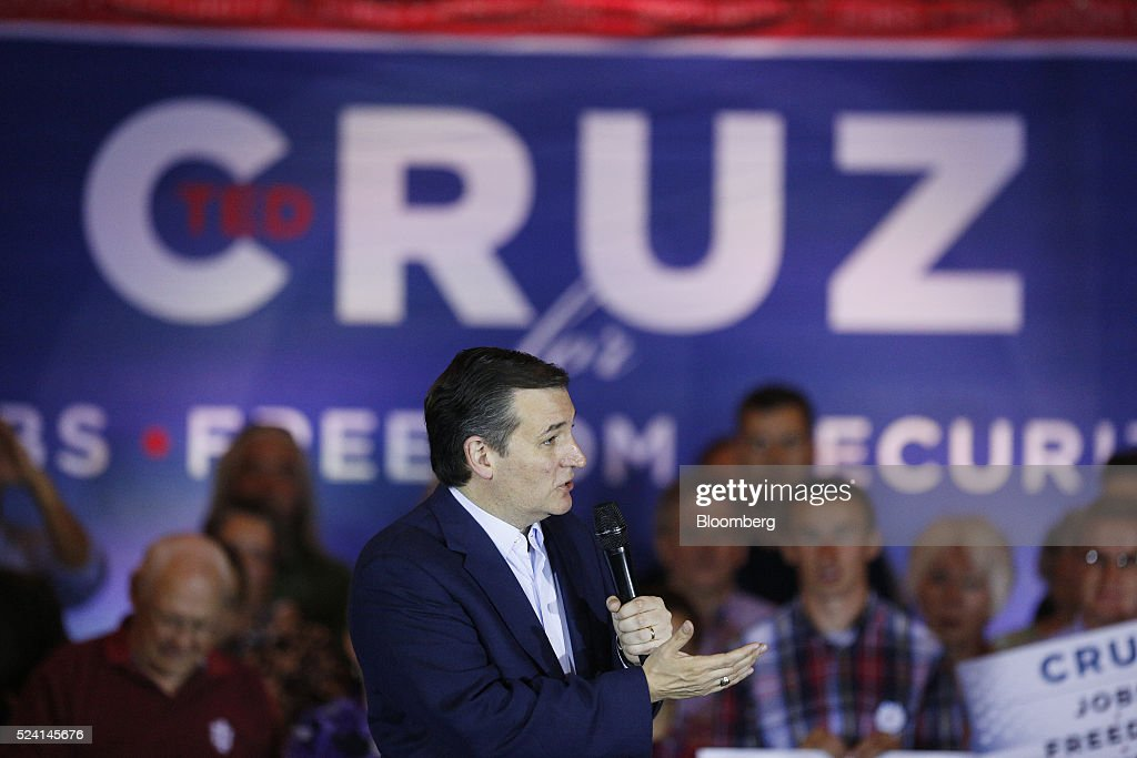 Senator Ted Cruz, a Republican from Texas and 2016 presidential candidate, speaks during a campaign event in Borden, Indiana, U.S., on Monday, April 25, 2016. Cruz won the majority of delegates that the Utah and Maine parties voted to send to July's convention, another victory for the Texas senator's organizational efforts over front-runner Donald Trump that could bolster Cruz at a contested convention. Photographer: Luke Sharrett/Bloomberg via Getty Images