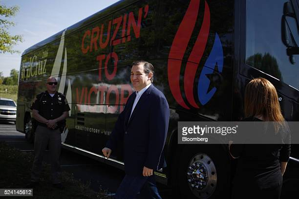Senator Ted Cruz a Republican from Texas and 2016 presidential candidate arrives at a campaign event in Borden Indiana US on Monday April 25 2016...