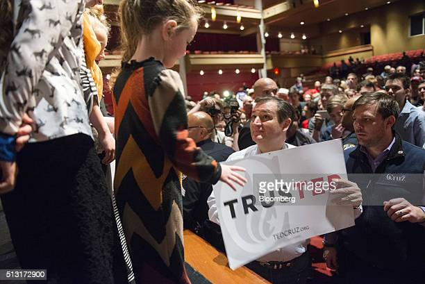 Senator Ted Cruz a Republican from Texas and 2016 presidential candidate talks to supporters during a campaign event in Houston Texas US on Monday...