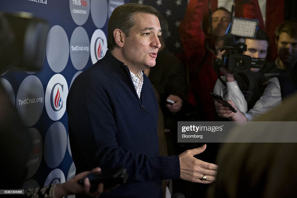 Senator Ted Cruz, a Republican from Texas and 2016 presidential candidate, speaks to members of the media during a campaign stop at the Village Trestle in Goffstown, New Hampshire, U.S., on Wednesday, Feb. 3, 2016. Republican presidential candidate Donald Trump on Wednesday said Cruz 'stole' first place in the Iowa caucuses and called for 'a new election' or nullification of Cruz's win. Photographer: Andrew Harrer/Bloomberg via Getty Images