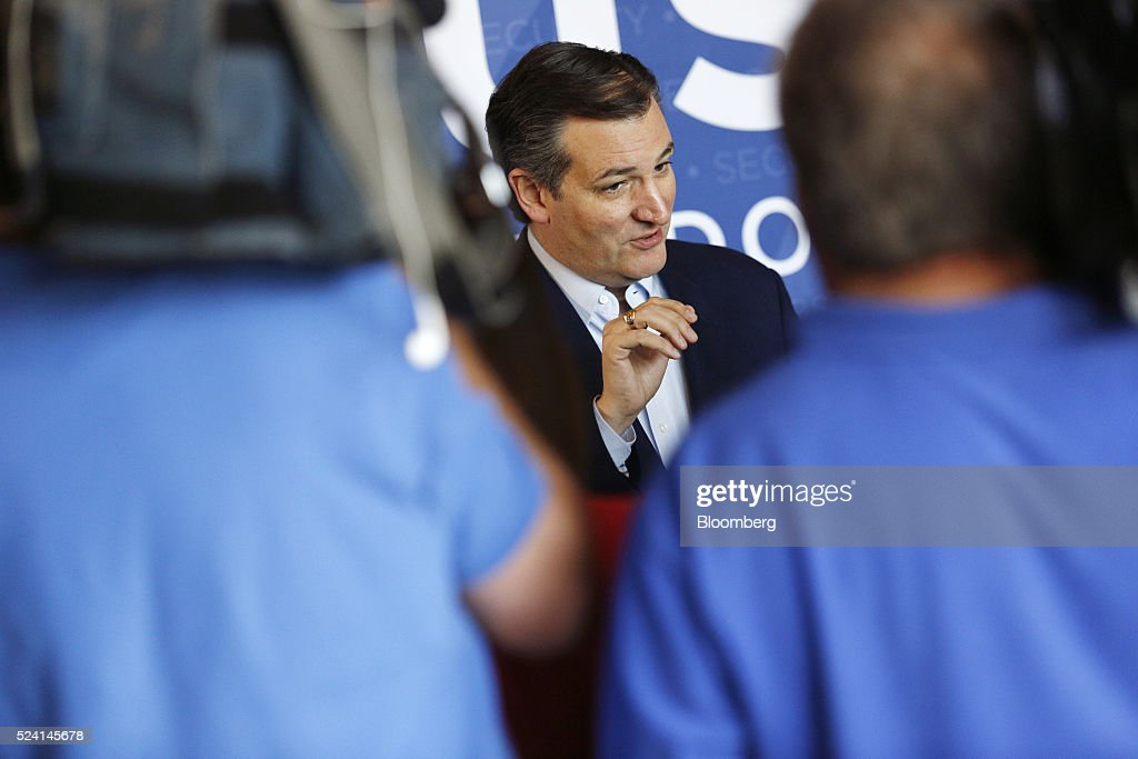 Senator Ted Cruz, a Republican from Texas and 2016 presidential candidate, speaks to the media before a campaign event in Borden, Indiana, U.S., on Monday, April 25, 2016. Cruz won the majority of delegates that the Utah and Maine parties voted to send to July's convention, another victory for the Texas senator's organizational efforts over front-runner Donald Trump that could bolster Cruz at a contested convention. Photographer: Luke Sharrett/Bloomberg via Getty Images
