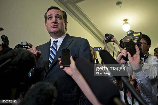 Senator Ted Cruz a Republican from Texas and former 2016 presidential candidate speaks to the media as he arrives to his office in the Russell Senate...