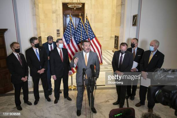 Senator Ted Cruz, a Republican from Texas, center, speaks during a news conference following a Republican caucus luncheon on Capitol Hill in...
