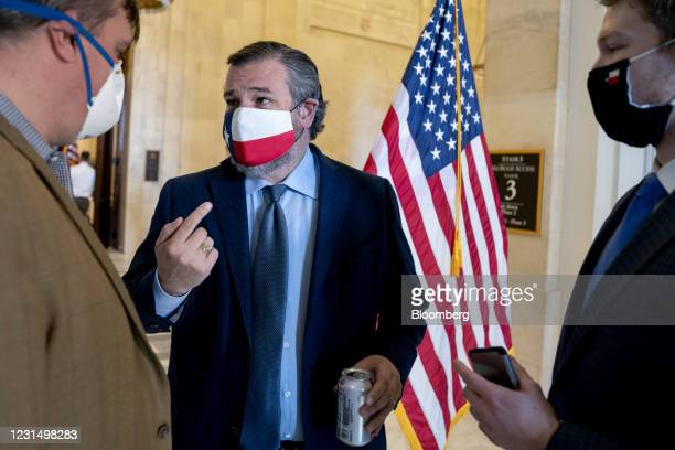 Senator Ted Cruz, a Republican from Texas, center, speaks to members of the media following Senate Republican luncheons in Russell Senate Office...