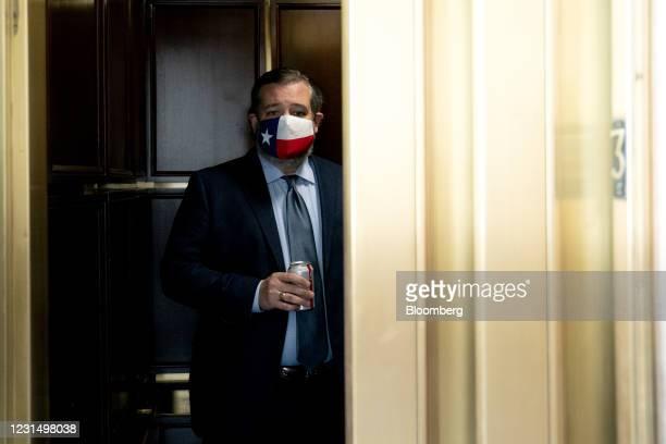 Senator Ted Cruz, a Republican from Texas, departs Senate Republican luncheons in Russell Senate Office Building in Washington, D.C., U.S., on...