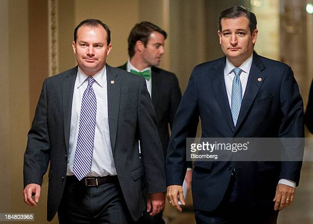 Senator Ted Cruz a Republican from Texas right and Senator Michael Mike Lee a Republican from Utah walk to the Senate floor at the US Capitol in...