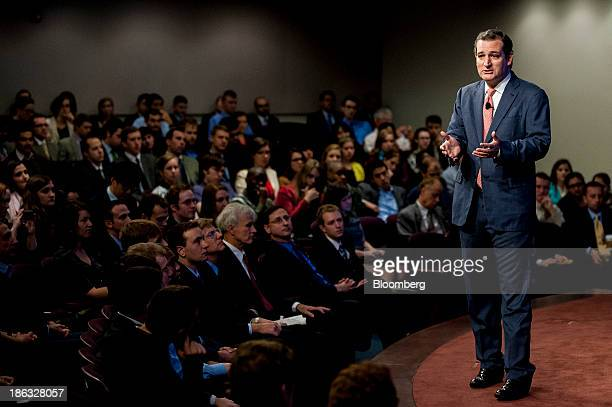 US Senator Ted Cruz a Republican from Texas speaks at the Heritage Foundation in Washington DC US on Wednesday Oct 30 2013 Cruz was scheduled to...