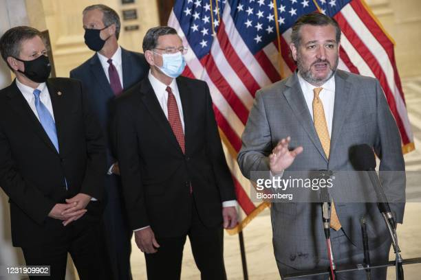 Senator Ted Cruz, a Republican from Texas, speaks during a news conference following a Republican caucus luncheon on Capitol Hill in Washington,...