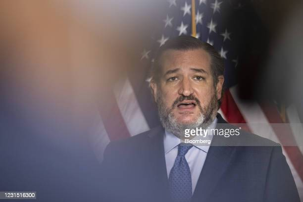 Senator Ted Cruz, a Republican from Texas, speaks during a news conference at the U.S. Capitol in Washington, D.C., U.S. On Thursday, March 4, 2021....