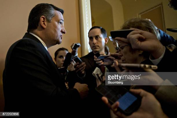Senator Ted Cruz a Republican from Texas speaks to members of the media after a closeddoor GOP conference meeting to discus tax reform at the US...